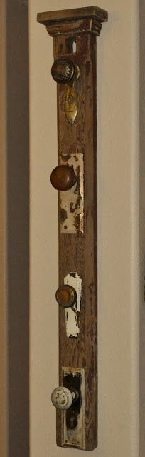 repurposed front door hat rack made out of a salvaged mantle post, door knobs, and faceplates. Repurposed Items, Repurposed Furniture, Diy Furniture, Salvaged Decor, Repurposed Doors, Antique Door Knobs, Coat Hanger, Coat Racks, Hanger Rack