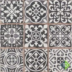 Peronda FS Faenza Classic Vintage Spanish Tile They are the perfect tiles in the hallway. Very easy to lay. The patterns are mixed and fool many into thinking they were all laid separately. Best of all, they do not show dirt and are very easy to clean. Black Tiles, White Tiles, Grey Tiles, Wall And Floor Tiles, Wall Tiles, Cement Tiles, Tiles Direct, Vintage Tile, Diy Vintage