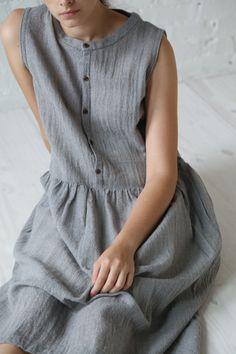 Ichi Wool Gauze Dress Grey