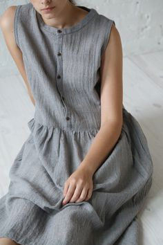 Ichi Wool Gauze Dress Grey