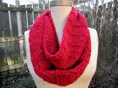 Crochet Rich Valentine Red Infinity Scarf by craftsbybeck on Etsy, $20.00