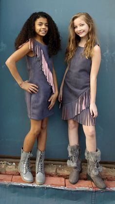 Fall 2016: Elisa B.'s Gray Fringe dresses from the Double Trouble collection. www.lipstikgirlsclothing.com