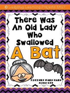 """This is a """"There Was an Old Lady Who Swallowed A Bat"""" Picture Word Card mini-set for primary students. My projects and sight word emergent readers are designed with the Pre-K, Transitional Kindergarten, and Kindergarten Student in mind. This """"Old Lady"""" themed collection of picture cards has 11 different vocabulary words."""