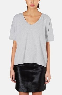 TOPSHOP Boutique Oversized Cotton V-Neck Tee available at #Nordstrom