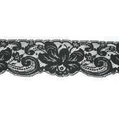 "Closeout Roll 2 1 2"" Floral Lace 47 Yards Black Soft 