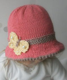 Knitting Pattern for Butterfly Bucket Hat - Even the butterfly is knit on this sun hat. Sizes: 6m/1y/3y/child/woman