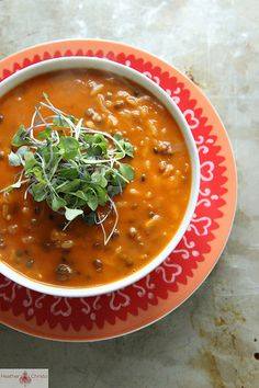 Spicy Tomato Lentil Soup by @Heather Christo  #recipe