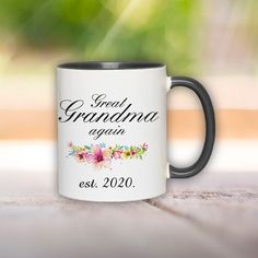 Grandma Mug, Grandma Gifts, pregnancy announcement grandparents, Grandma to be Mug, coffee mug, grandma gift Grandparent Pregnancy Announcement, Grandma Mug, Grandma Gifts, Grandparents, Marketing And Advertising, Coffee Mugs, Print Design, Handmade Items, Tableware