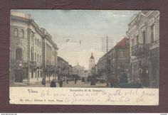 LITUANIE Vilna Perspective De St Georges  Rue Animée  Vilnius Wilno Vilnius  Lituanie  Année 1903 - Lituanie