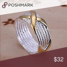Sterling Silver Gold Filled Cross Mesh Ring Brand New .925 Sterling Silver Stamped #R028 Jewelry Rings