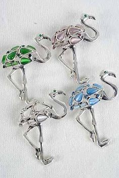 Crystal Flamingo Pin Brooch Silver Pink Blue Green White Cats Eye USA Seller