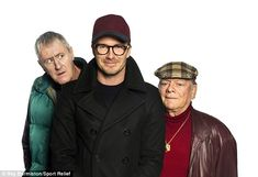 Guest star: The retired footballer appears on the Sport Relief sketch in a cap and glasses