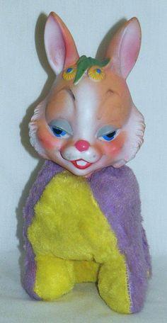 Vintage 1960's Rushton Bunny Rabbit by socal72girl, via Flickr Easter Toys, Creepy Cute, Vinyl Toys, Retro Toys, Vintage Easter, Old Toys, Bunny Rabbit, Vintage Dolls, Kitsch