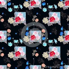Conceptual seamless print for fabric with gardening flowers on black background. #gardeningflowers