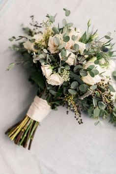 Bridal bouquet - wild greenery with white flowers - wild flower bouquet - ribbon wrapped - bridal style - bouquet - simply elegant flowers bouquet Eco Wedding & Event Florist Los Angeles Bridal Flowers, Flower Bouquet Wedding, Floral Wedding, Wedding Colors, Gift Flowers, Fall Wedding Bouquets, Fall Wedding Flowers, Wedding Flower Arrangements, Floral Arrangements
