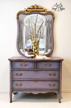 lavender gold painted dresser - purple dresser - painted furniture