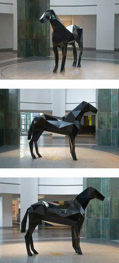The Horse (noir) at the Musée d'Art Contemporain de Montréal, from Xavier Veilhan, Paris artist based
