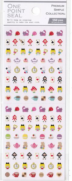 Kawaii Japan Sticker Sheet Assort: One Point Seal Mini Point Stickers Alice in Wonderland