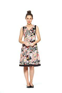 Love That Print ♥ Paloma Cotton 50's 2 print Dress- Tokyo + Black Spot Prints