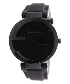 Look at this Gucci Black Interlocking Leather-Strap Watch on #zulily today!