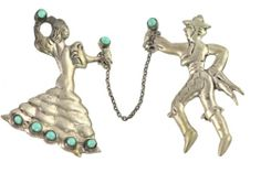 Vintage Sterling Silver Turquoise Mexican Dancing Couple Double Pin Brooch