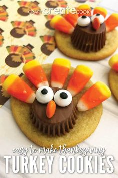These Thanksgiving turkey cookies are sure to delight both kids and adults! The … – kids baking ideas Thanksgiving Cookies, Thanksgiving Turkey, Thanksgiving Recipes, Holiday Recipes, Cookie Recipes, Dessert Recipes, Dessert Ideas, Fall Desserts, Turkey Cookies