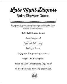 Late Night Diapers, Fun Baby Shower Games, Diaper Baby Showers, Diaper  Babies, Girl Shower