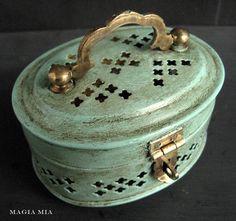 Chalk Paint on Brass Cricket Box
