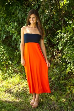 V is For Victory Maxi Tube-Navy/Orange - $36.00