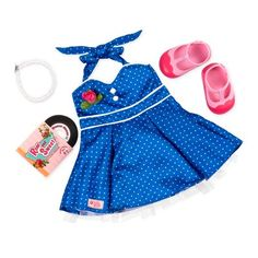 Get ready to bop 'til you drop with the Our Generation Retro Dance Party Outfit! This adorable clothing accessory for 18-inch dolls features a bright blue halter dress with white polka dots and piping, and a tulle layer beneath the skirt. The pearl necklace and rose corsage add a touch of vintage glamour. Slip on the pink T-strap shoes, put on the record, and dance the night away! This retro outfit is so cute, you'll wish you had one in your own size! Discover a charming era of fashion and fun w Our Generation Doll Clothes, Poupées Our Generation, Outfits Fiesta, Retro Outfits, Cute Outfits, Doll Outfits, Ropa American Girl, T Strap Shoes, Doll Accessories