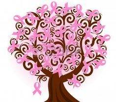 Vector illustration of a breast cancer pink ribbon tree Stock Vector