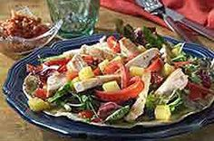 Grilled Chicken Salad on Crispy Tortillas Recipe - Kraft Recipes Kebab Recipes, Grilling Recipes, Salad Recipes, Cooking Recipes, Kraft Recipes, Main Dish Salads, Dinner Salads, Tortilla Recipe, Grilled Chicken Salad
