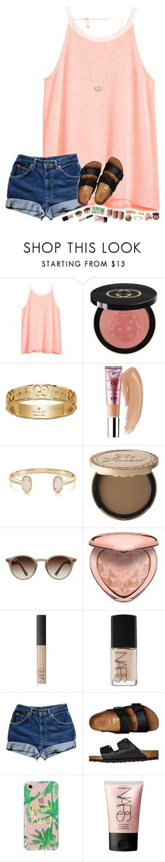 """&& i said stay, stay stay, ive been loving you for quite some time, time, time"" by hopemarlee ❤ liked on Polyvore featuring H&M, Gucci, tarte, Kendra Scott, Too Faced Cosmetics, Ray-Ban, NARS Cosmetics, Birkenstock and Rebecca Minkoff"