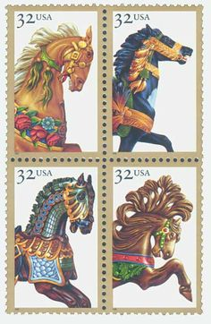 Carousel Horses American Folk Art Series Issue Date: July 1995 City: Lahaska, PA Quantity: Pri Carosel Horse, Painted Pony, Art Series, Equine Art, Horse Art, Mail Art, Stamp Collecting, Postage Stamps, Illustrations