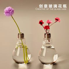 Light Bulb Glass Vase Terrarium Vases Cute Flower Pots Tabletop Glass  Modern Vaso Wedding Floor Air
