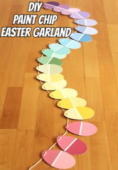 DIY Paint Chip Easter Garland.