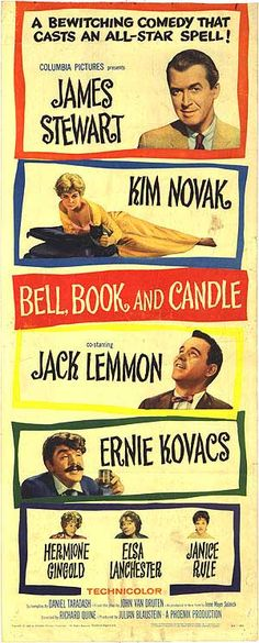 Bell, Book and Candle, 1958, reunited James Stewart & Kim Novak for their second on-screen pairing after Alfred Hitchcock's Vertigo.