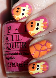 A Sally Hansen Nail Art Pen and Opi for color. Really cute. Someone would definitely have to help you or you would need stickers AND a paint pen!
