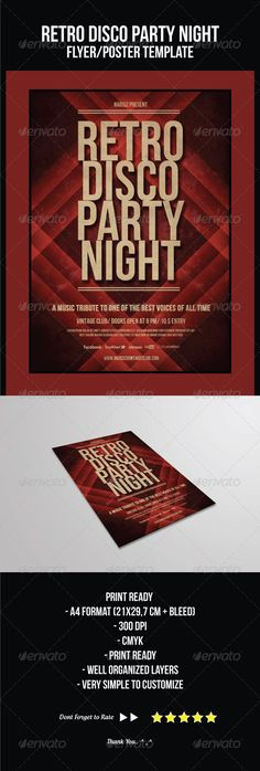 Buy Retro Disco Party Night Flyer Poster Templates By Ikaznarsis On GraphicRiver This Was Designed To