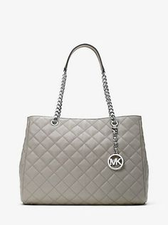 NWT MICHAEL Michael Kors Gray Susannah Large Quilted Leather Shoulder Bag Tote #MichaelKors #ShoulderBag