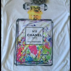 Shirt Super cute Chanel perfume bottle shirt (NOT REAL CHANEL) very colorful and cute Tops Tees - Short Sleeve