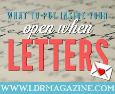What can you put inside open when letters? That's a question we've received from many readers! While there are lots of inspirational open when letters online that you can draw…