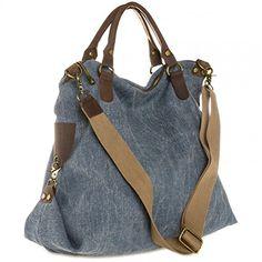 CASPAR Unisex Große Tasche Vintage Freizeit Tasche / Ledertasche / Umhängetasche mit stylischem Canvas / Leder Mix - viele Farben - TL706, Farbe:jeans blau