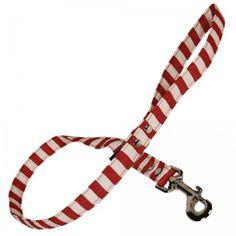 Red & White Stripe Fabric Dog Lead