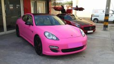 #Porsche Panamera wrapped in Matte Pink only at #Steam And #Shine.