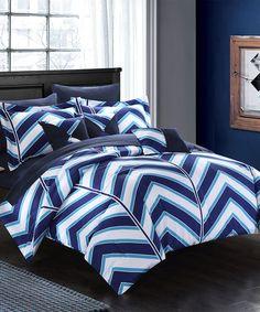 Navy Garron Reversible Bedding Set   zulily