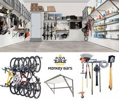 Monkey Bar Storage - maximize vertical space and keep sporting equipment and tools off of the garage floor. Young House Love, Shed Floor Plans, Shed Plans, Barn Storage, Garage Storage, Monkey Bar Storage, Garage Laundry, Garage Organization, Organization Ideas