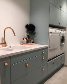 An ultra-chic laundry room with leather drawer pulls. Beautiful Bathrooms, Bathroom Renovations, Home Decor Kitchen, Laundry Mud Room, House, Laundry Room Wall Decor, Kitchen Design, Leather Drawer Pulls, Laundry Room Inspiration