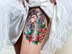 Red Roses And Girl Head Thigh Tattoo