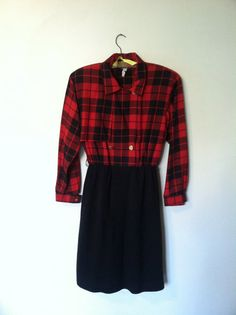 Vintage 80's Red Plaid and Black Dress Size L